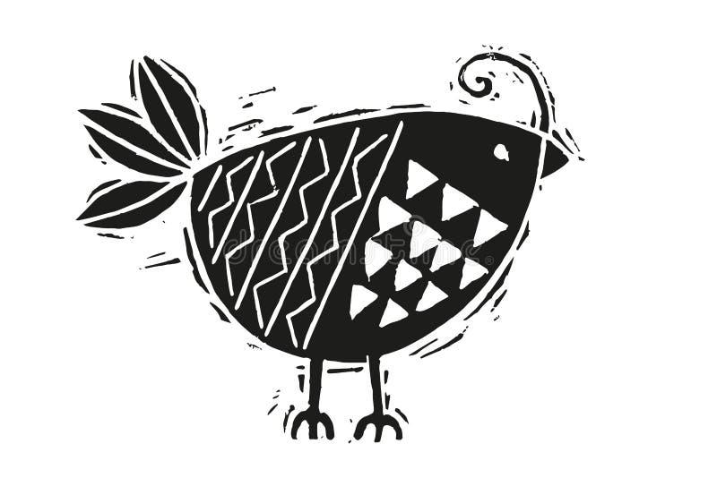 Uccello dell'intaglio in legno in bianco e nero fotografia stock libera da diritti