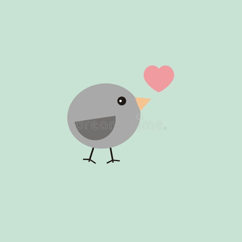 Uccello della carta del biglietto di S. Valentino illustrazione di stock