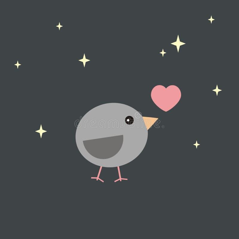 Uccello della carta del biglietto di S. Valentino nell'amore alla notte illustrazione di stock