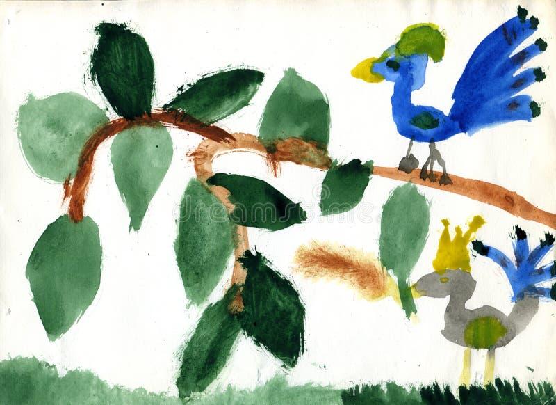 Download Uccello Della Regina Ed Uccello Semplice Illustrazione di Stock - Illustrazione di pittura, foglio: 7310873