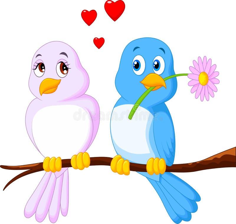 Uccello delle coppie del fumetto su un ramo illustrazione di stock