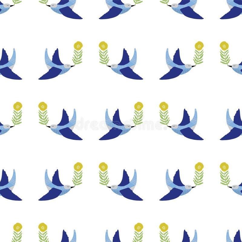 Uccello di arte di piega con il vettore scandinavo di stile dell'ornamento floreale dell'elemento royalty illustrazione gratis
