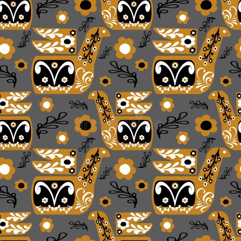 Uccello di Brown nello stile piega con gli ornamenti in bianco e nero illustrazione vettoriale