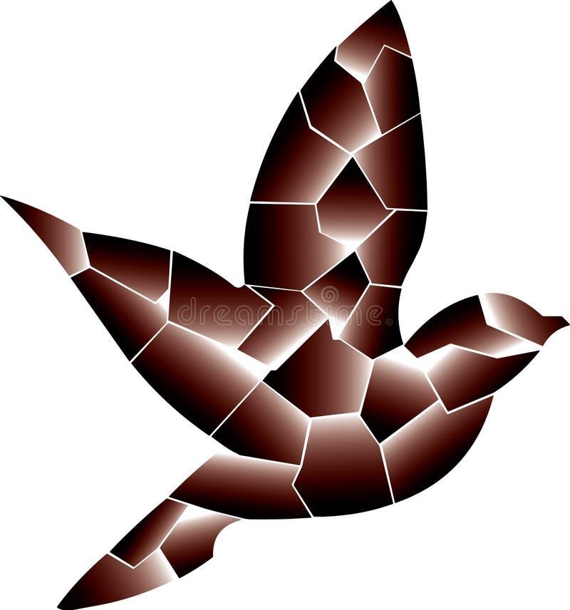 Uccello di Brown Volando da solo, sta ritornando illustrazione di stock