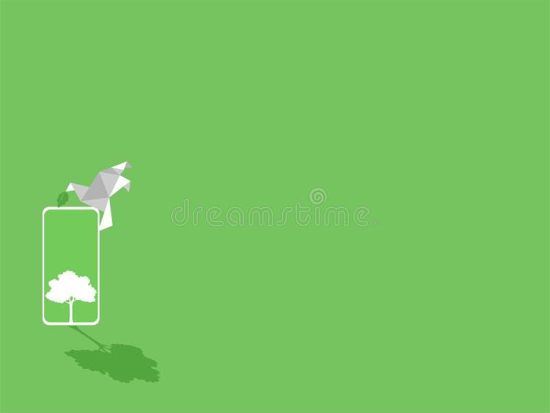 Uccello di carta con gli alberi bianchi verdi del dispositivo del telefono dello smarth e della foglia su esposizione verde illustrazione di stock