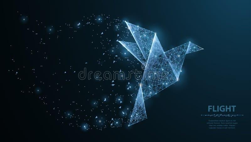 Uccello di carta di origami astratti Maglia poligonale del wireframe con i punti e le stelle Illustrazione o fondo di concetto illustrazione vettoriale
