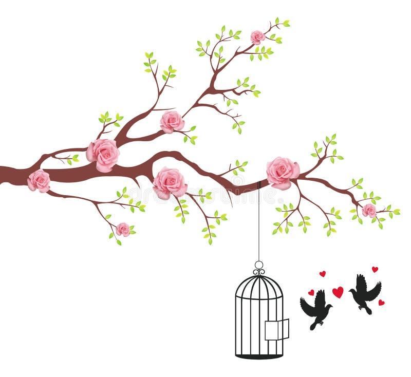 Uccello di liberazione dalla gabbia al suo amante illustrazione di stock