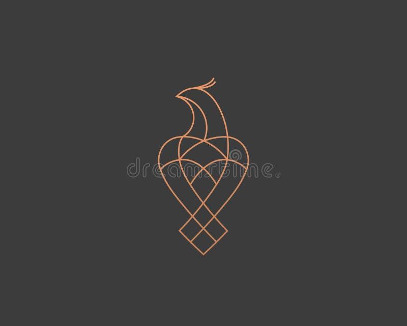 Uccello di lusso, aquila, linea progettazione di vettore del falco di logo Logotype premio universale di simbolo del falco illustrazione di stock