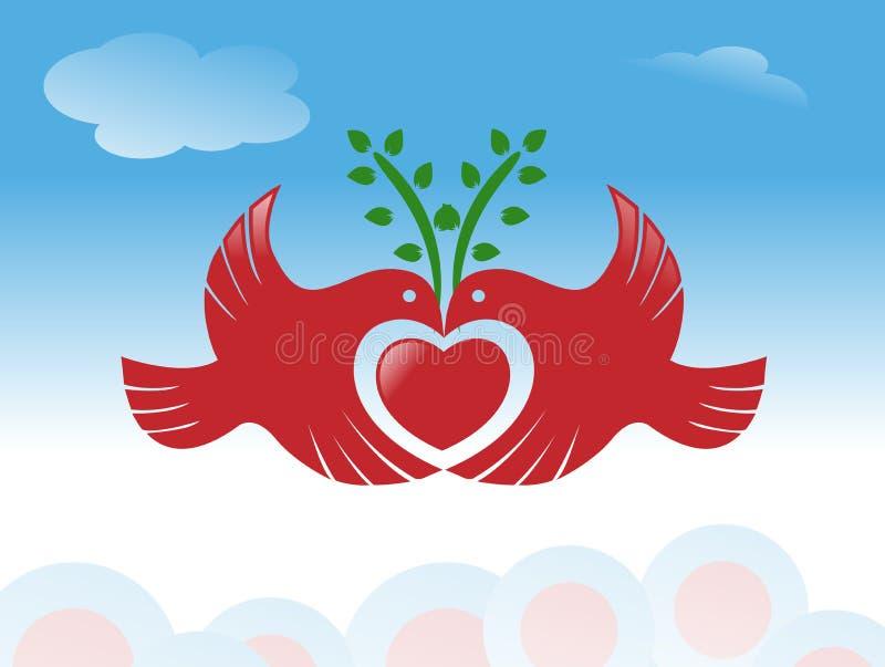 Uccello di pace con il simbolo del cuore illustrazione di stock