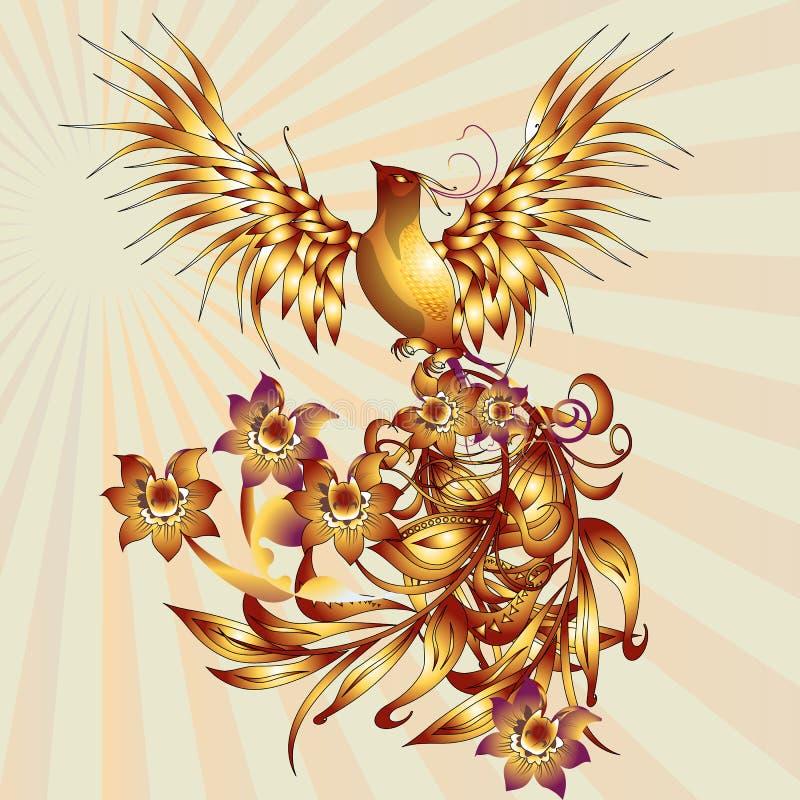 Uccello di Phoenix con le azione di vettore delle foglie immagine stock libera da diritti