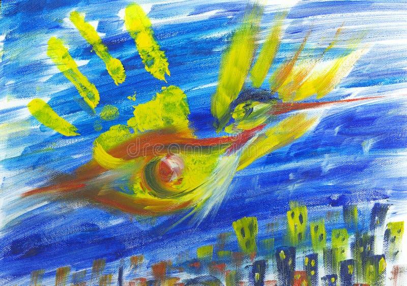 Uccello di Phoenix sopra la città illustrazione vettoriale