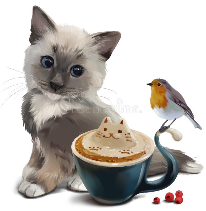 Uccello di Robin, del gattino e tazza di cappuccino royalty illustrazione gratis