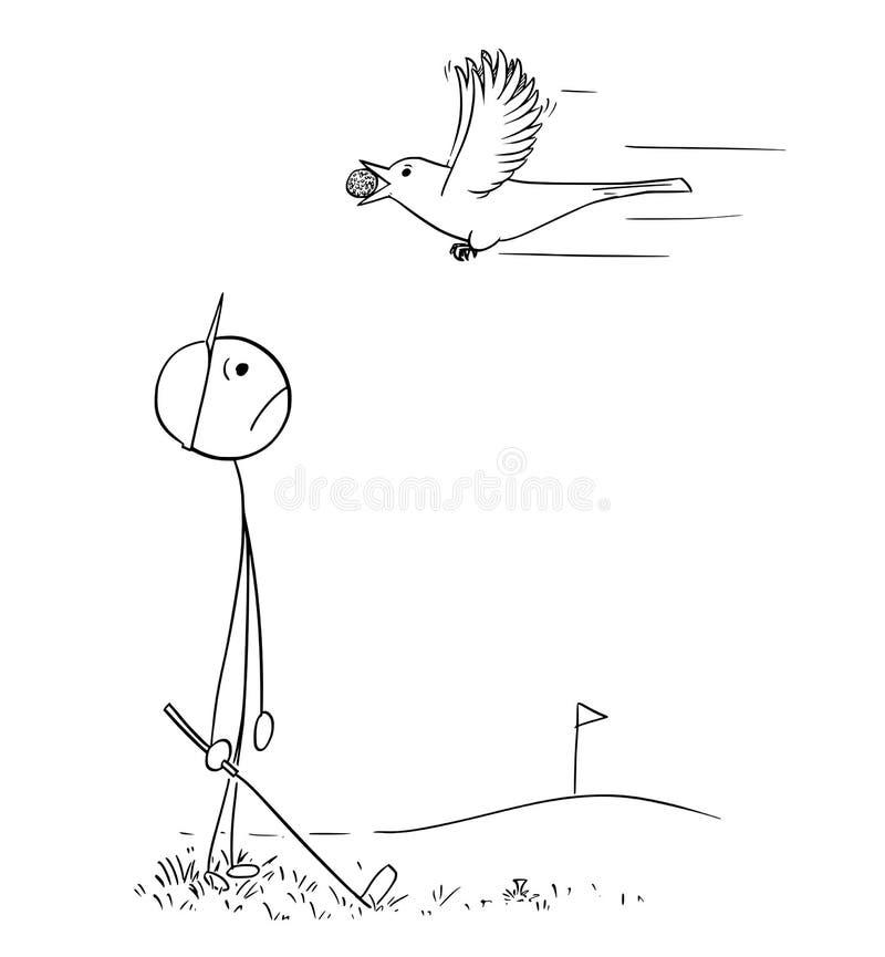 Uccello di sguardo triste maschio del giocatore di golf che porta la sua palla illustrazione vettoriale