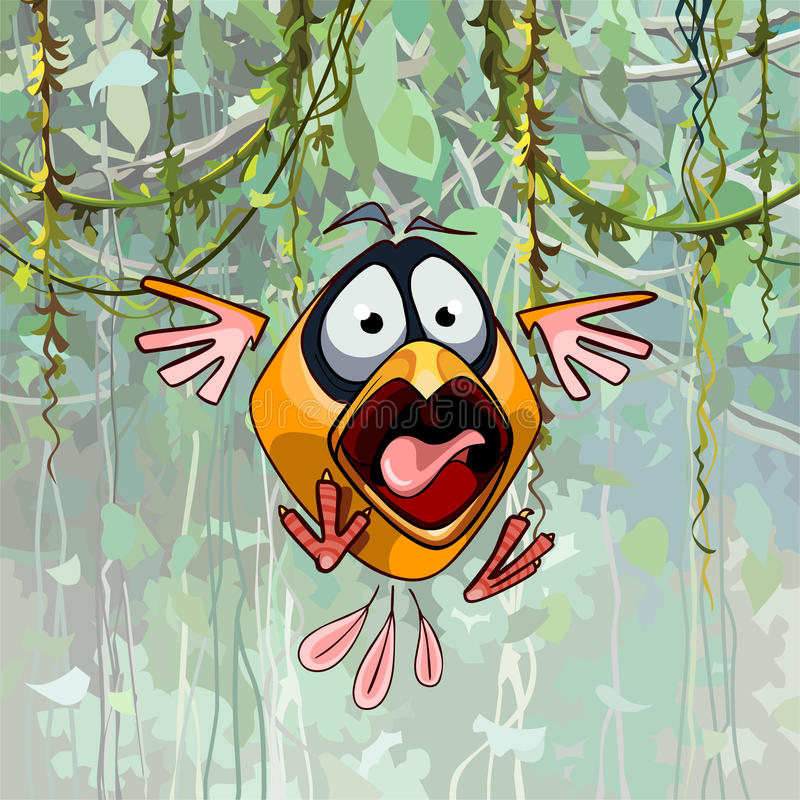Uccello divertente spaventato del fumetto con il becco aperto illustrazione vettoriale