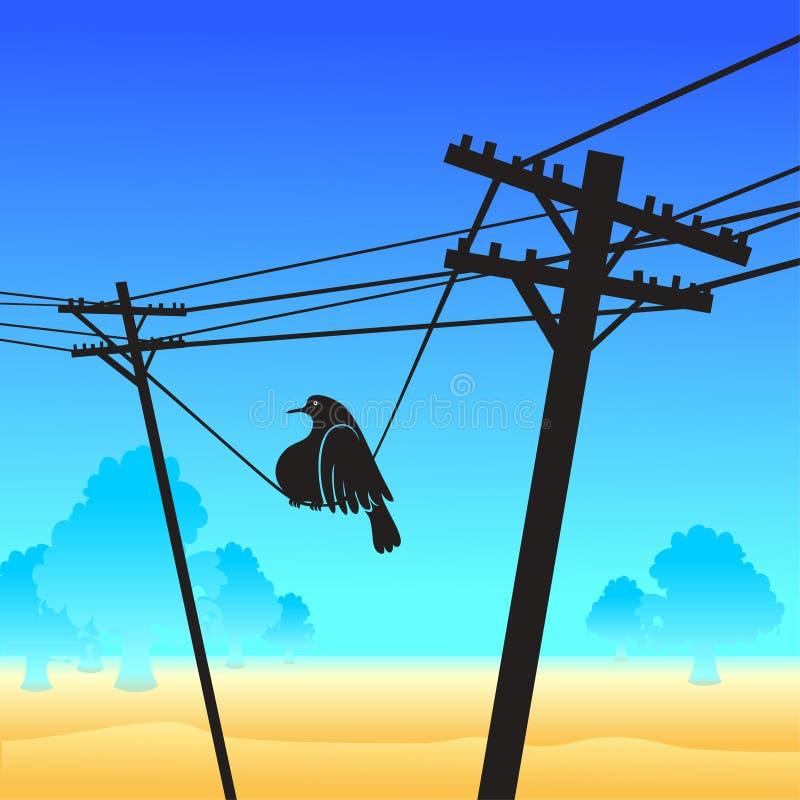 Uccello divertente sui pali royalty illustrazione gratis