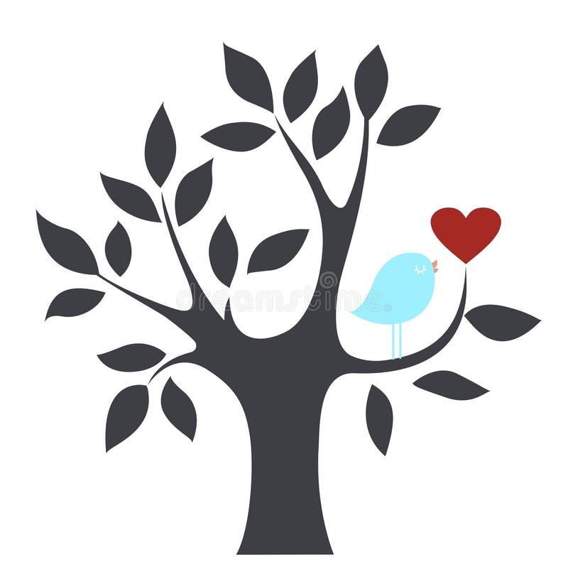 Uccello ed albero di vettore royalty illustrazione gratis
