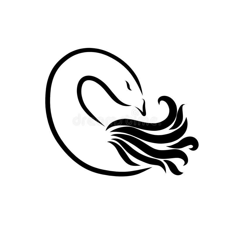 Uccello elegante con un collo curvo lungo, simile alla lettera C illustrazione di stock