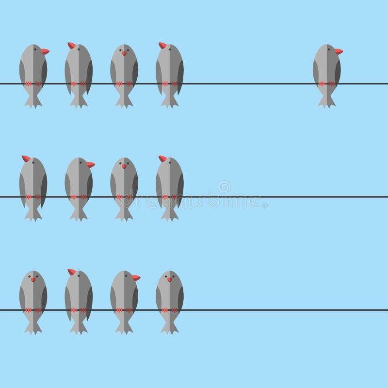 Uccello indipendente libero unico illustrazione vettoriale
