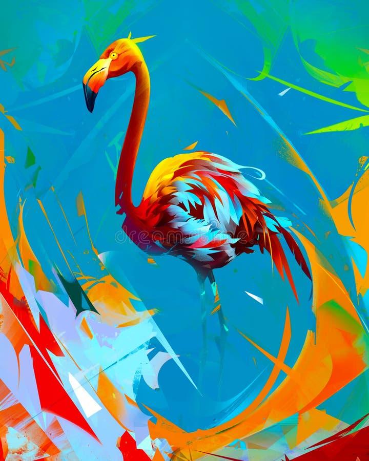 Uccello luminoso dipinto del fenicottero su fondo astratto illustrazione vettoriale