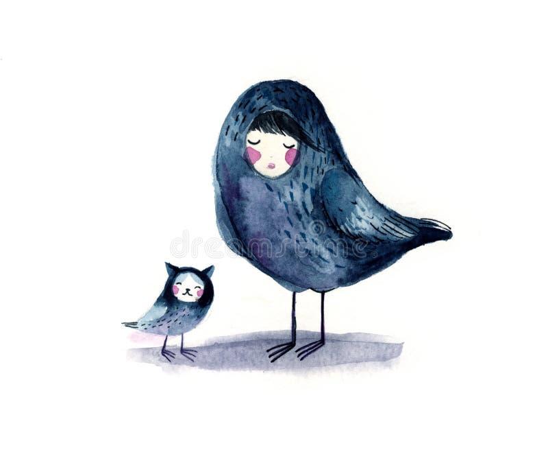 Uccello magico Sirin dell'acquerello illustrazione di stock