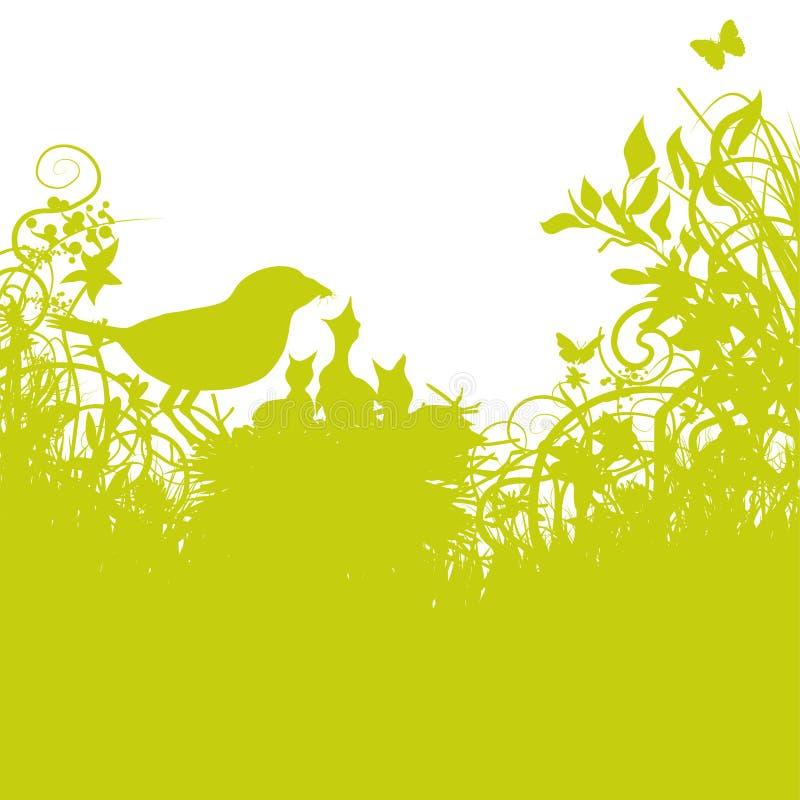 Uccello-nido e giovani uccelli royalty illustrazione gratis