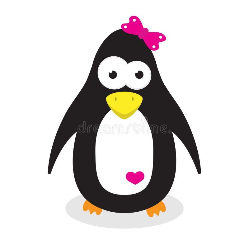 Uccello selvaggio del fumetto della ragazza sveglia del pinguino fotografia stock libera da diritti