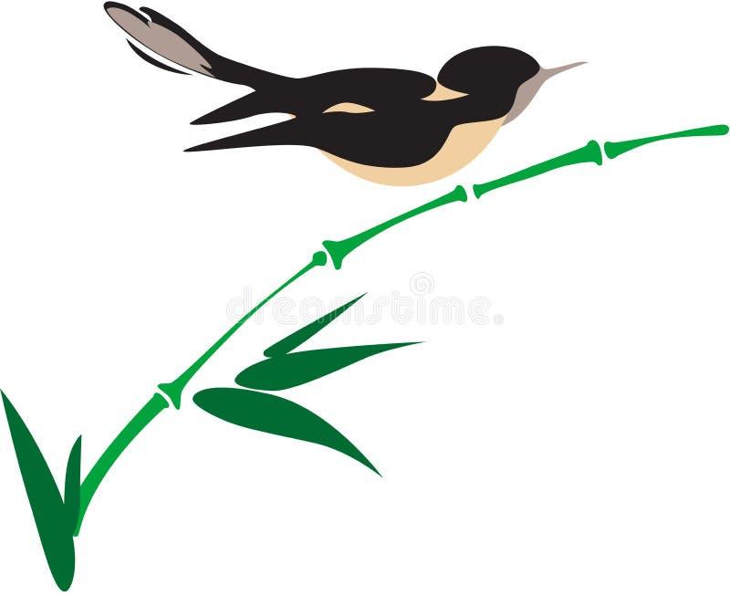 Uccello su bambù illustrazione di stock