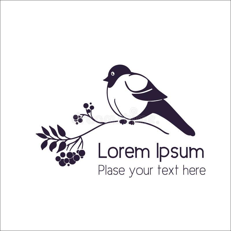 Uccello su una cenere di montagna, ramo della sorba Illustrazione monocromatica di vettore illustrazione di stock