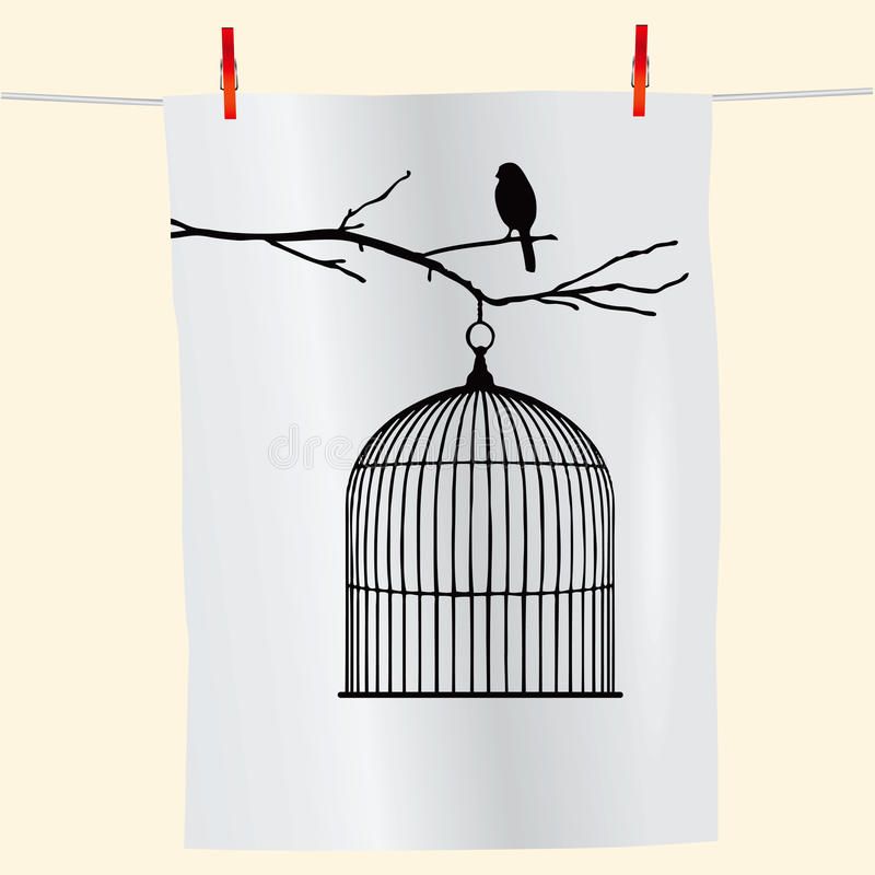 Uccello su una filiale e su un birdcage illustrazione di stock