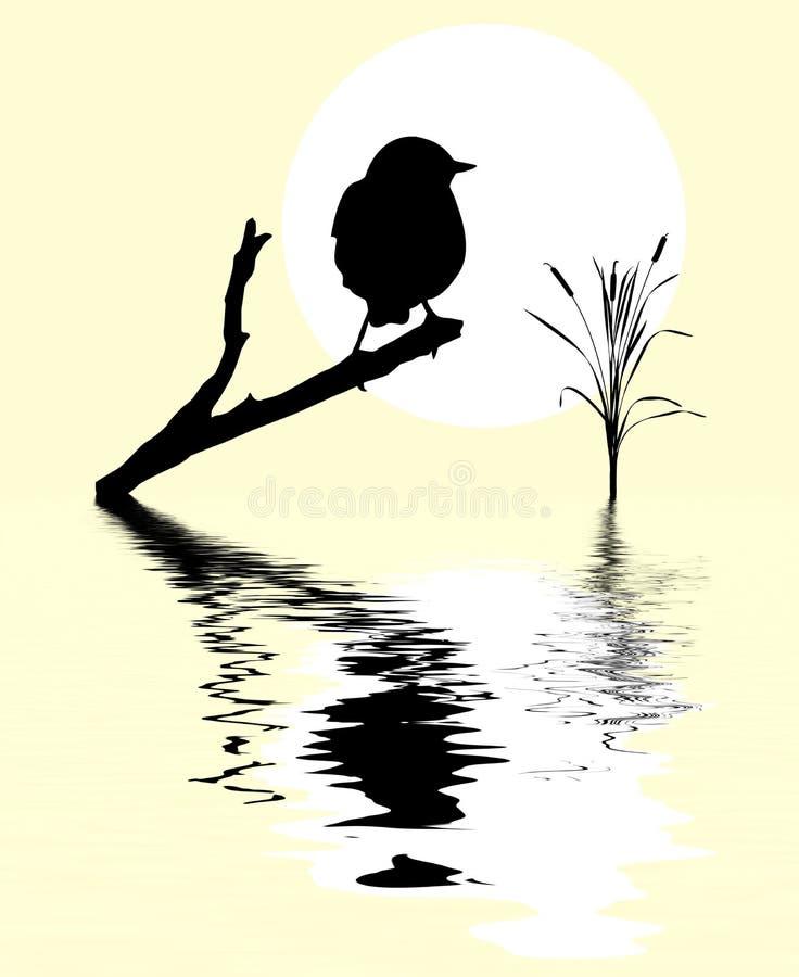 uccello sull'albero della filiale illustrazione vettoriale