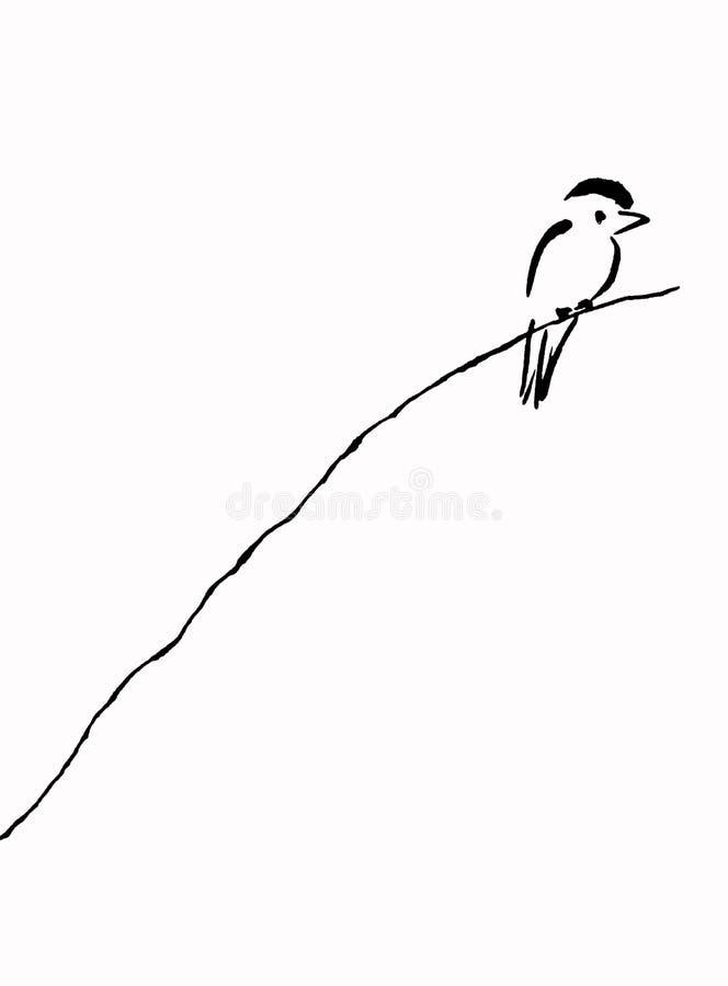 Uccello sulla filiale illustrazione di stock