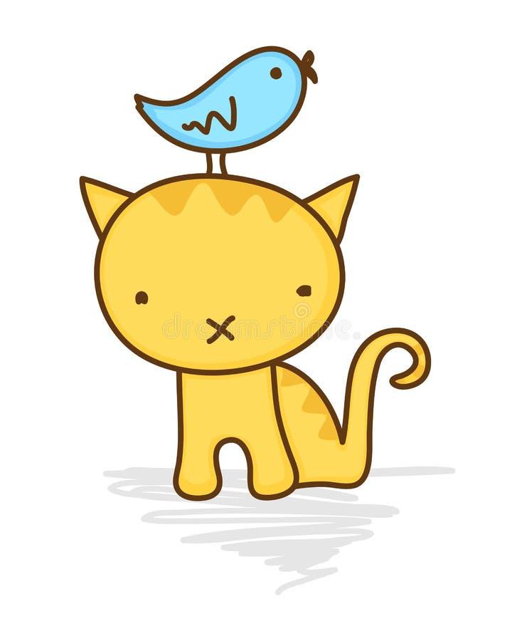 Uccello sveglio che si siede sulla testa del gatto royalty illustrazione gratis