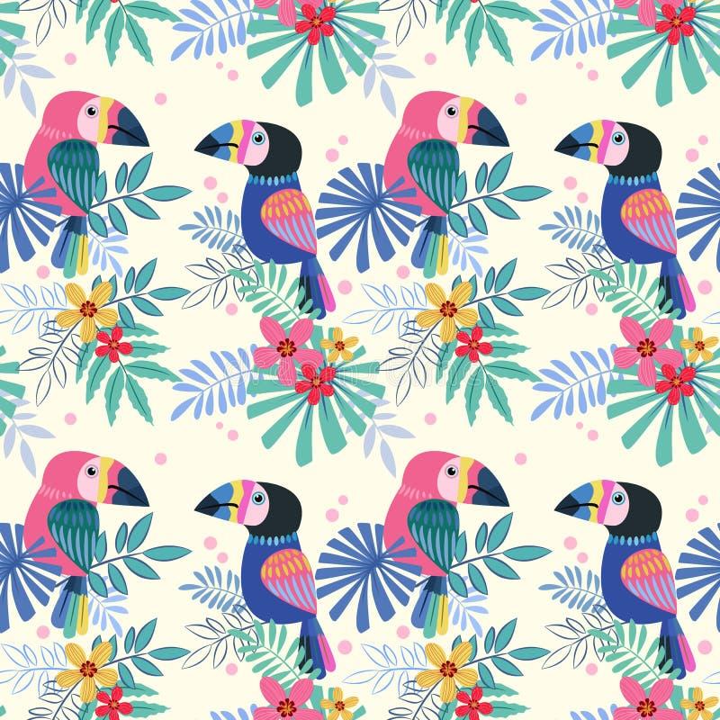 Uccello sveglio dei tucani con con il modello senza cuciture dei fiori tropicali illustrazione di stock