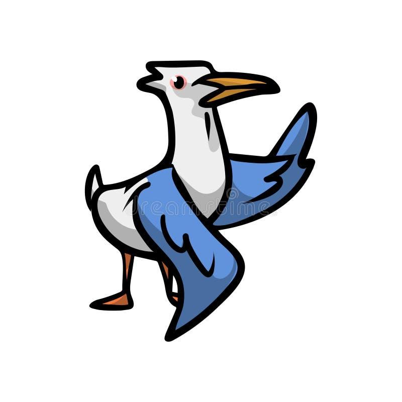 Uccello sveglio del gabbiano con le ali blu pronte ad iniziare mosca illustrazione di stock