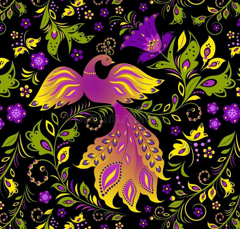 Uccello variopinto e pianta astratta illustrazione di stock