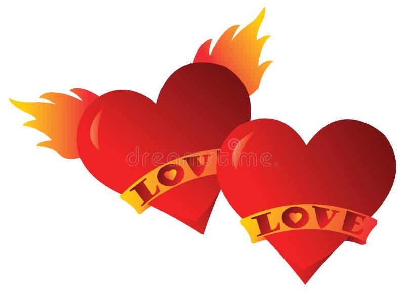 Uces par de corazones imagen de archivo libre de regalías