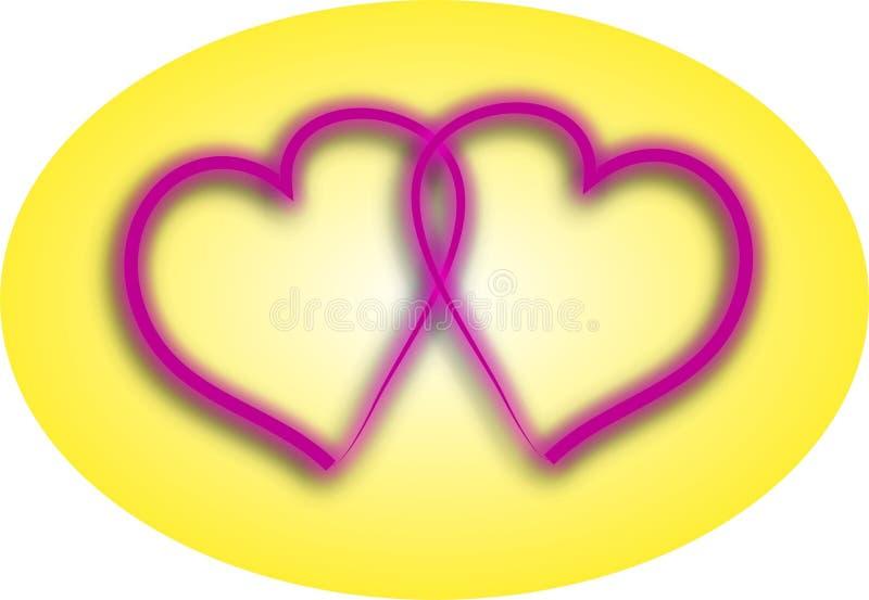 Uces par de corazones del amor ilustración del vector