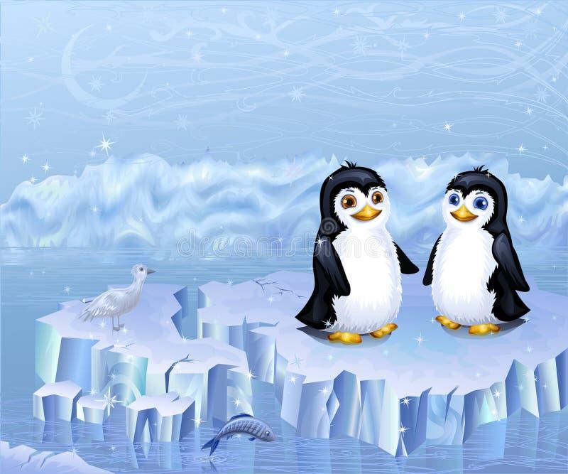 Uces par de pingüinos que se sientan en una masa de hielo flotante de hielo libre illustration