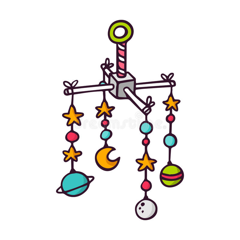 Ucha móvel, ilustração brilhante o do bebê das crianças do vetor ilustração stock