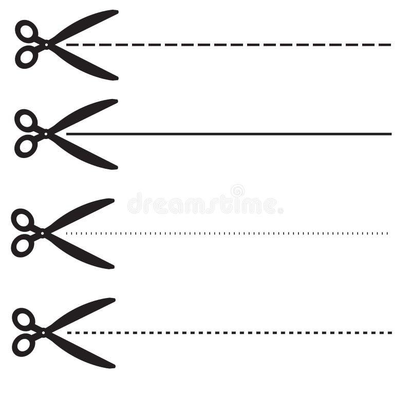 Uchercoupon gestormde lijnen vastgestelde schaar met gestormde lijn vector illustratie