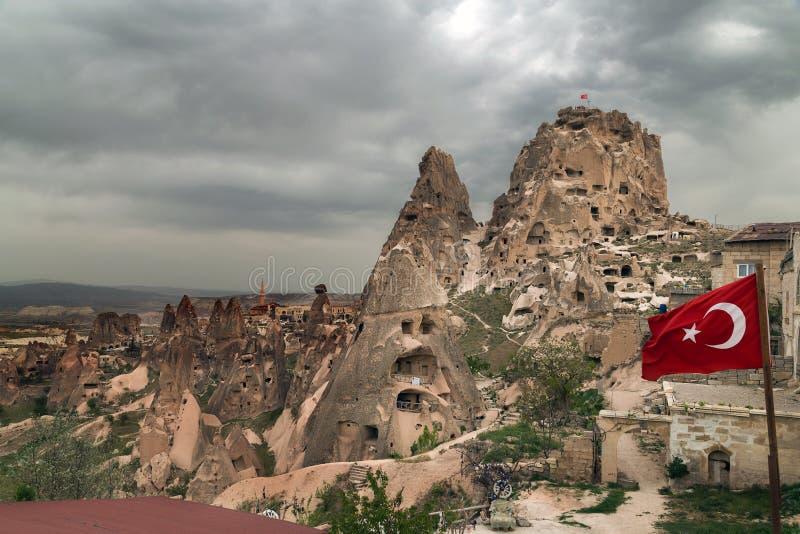 Uchisar in Cappadocia, die Türkei lizenzfreie stockfotos