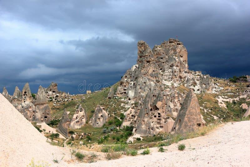 Uchisar-Schloss-Berg, Cappadocia, zentrales Anatolien, die Türkei lizenzfreie stockfotografie