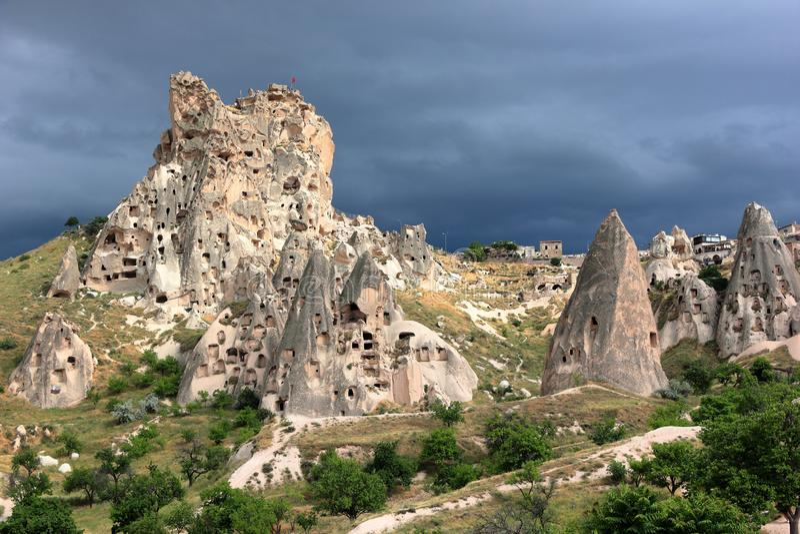 Uchisar-Schloss-Berg, Cappadocia, zentrales Anatolien, die Türkei lizenzfreies stockbild