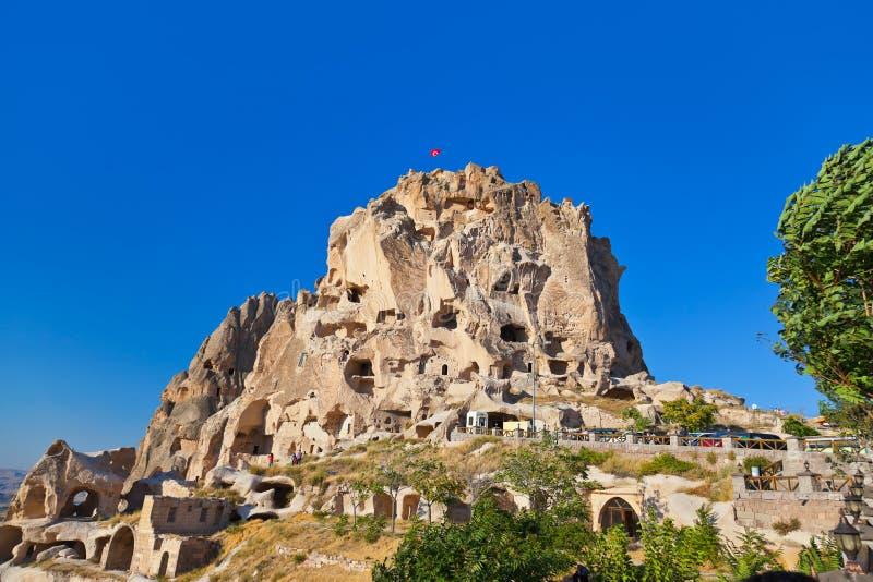 Uchisar Schloss in Cappadocia die Türkei stockfoto