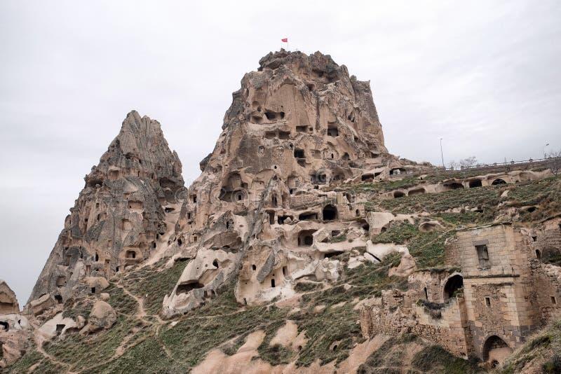Uchisar. Castle in Cappadocia,Turkey stock photos