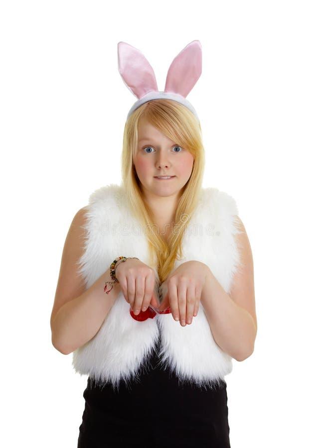 ucho śmieszni dziewczyny menchii królika potomstwa zdjęcie stock