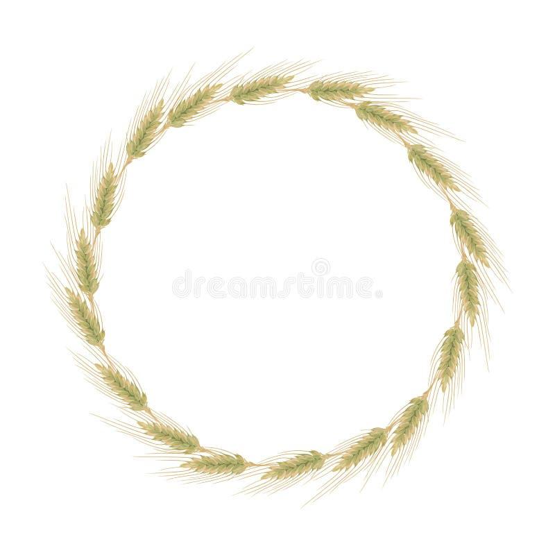 Ucho jęczmień, banatka lub żyto, Round wianek ilustracja wektor