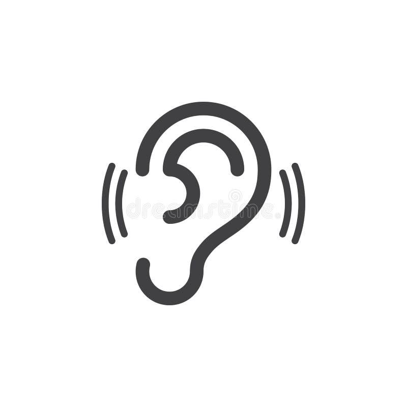 Ucho, przesłuchanie, ikona wektor, wypełniający mieszkanie znak, stały piktogram odizolowywający na bielu royalty ilustracja