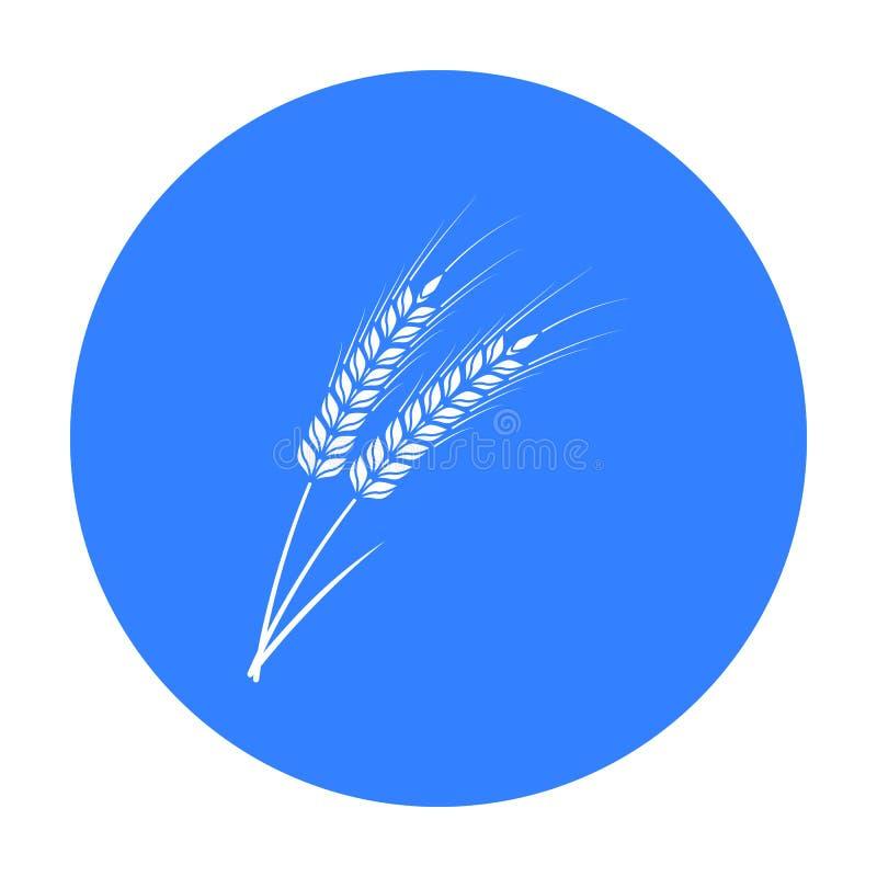 Ucho pszeniczna makaron ikona w czerń stylu odizolowywającym na białym tle Typ makaronu symbolu zapasu wektoru ilustracja royalty ilustracja
