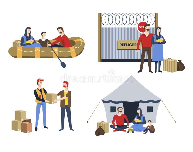 Uchodźca rodziny nielegalnych emigrantów azylu politycznego przesiedlenie royalty ilustracja